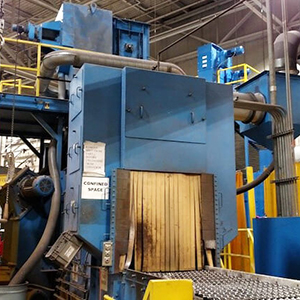 -SOLD- Used Wheelabrator Wire Mesh Pass-Thru Blast Machine